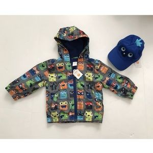NWT windproof jacket and hat boys size 18-24